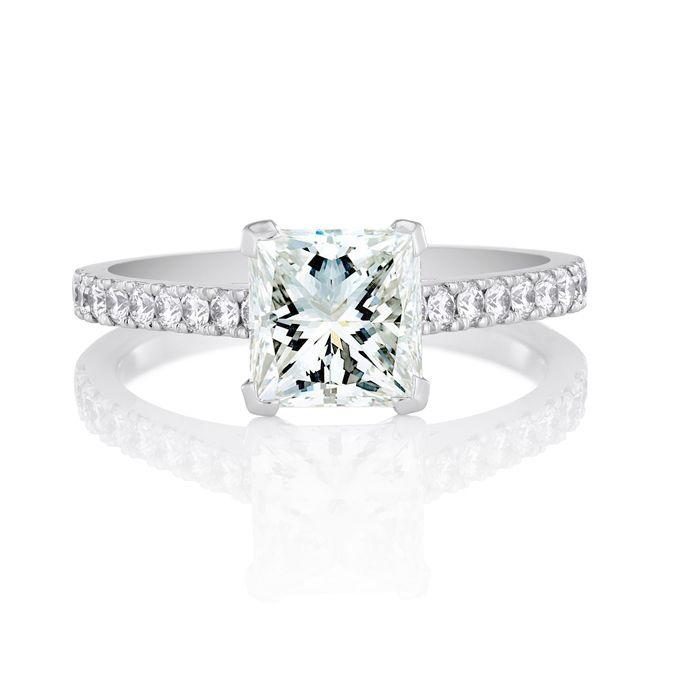 Brides Engagement Rings With Pavé Settings Clic Princess Cut