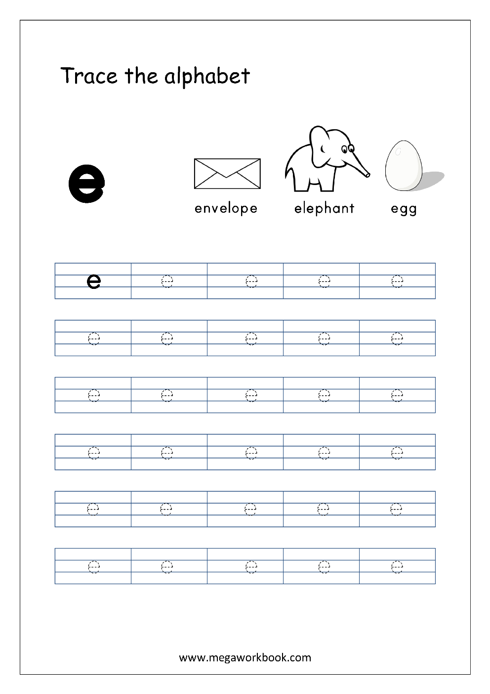 English Worksheet Alphabet Tracing Small Letter E S Alphabet