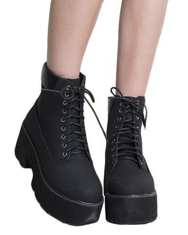 PLATFORM BLACK WORK BOOTS | Boots