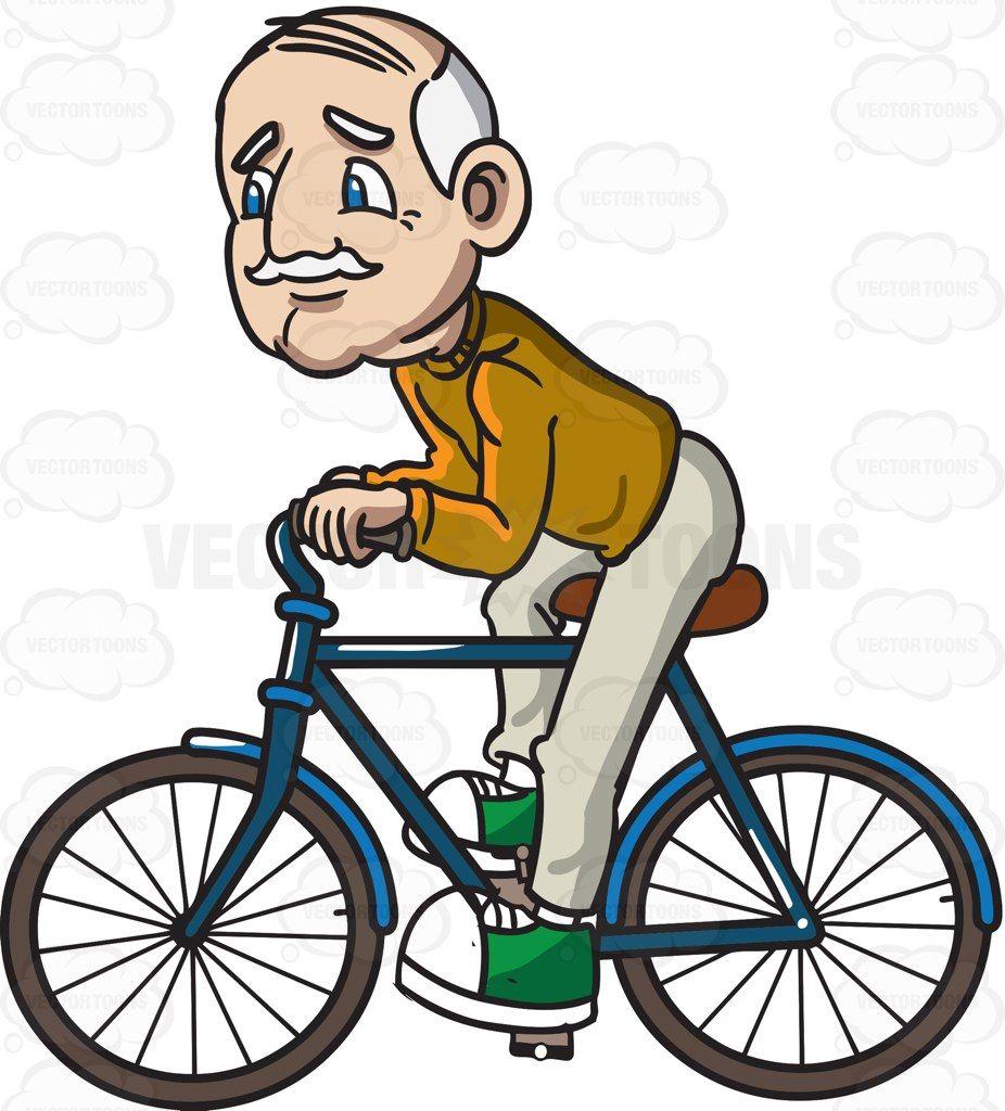 A Grandpa Riding Bicycle Cartoon Clipart Vector Vectortoons Stockimage