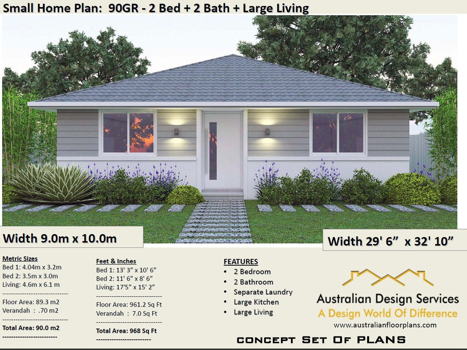 2 Bedroom House Plan 968 Sq Feet Or 90 M2 2 Small Home Design Small Home Design 2 Bedroom Granny Flat Concept House Plans For Sale House Plans For Sale Small House Design House Plans