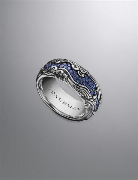 David Yurman Waves Band Ring For Men Sapphires Silver