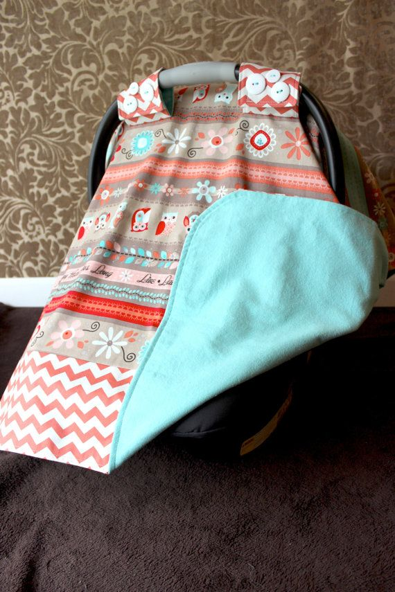 Infant Car Seat Canopy Coral Owl and Coral by LittlesStitching