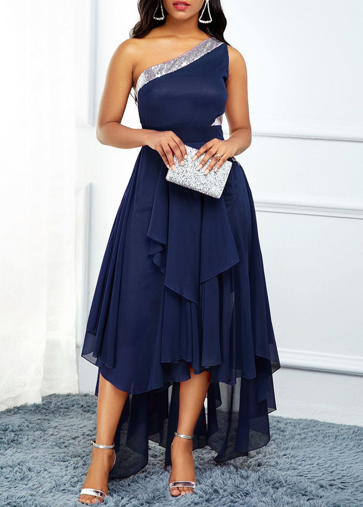 One Shoulder Navy Blue Asymmetric Hem Dress Modlily Com Usd 39 80 Dresses Blue Dress Outfits Hem Dress