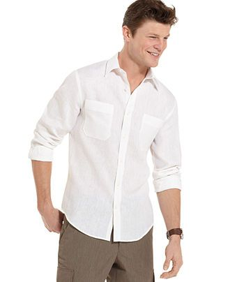 Perry Ellis Shirt Solid Linen Shirt Mens Casual Shirts