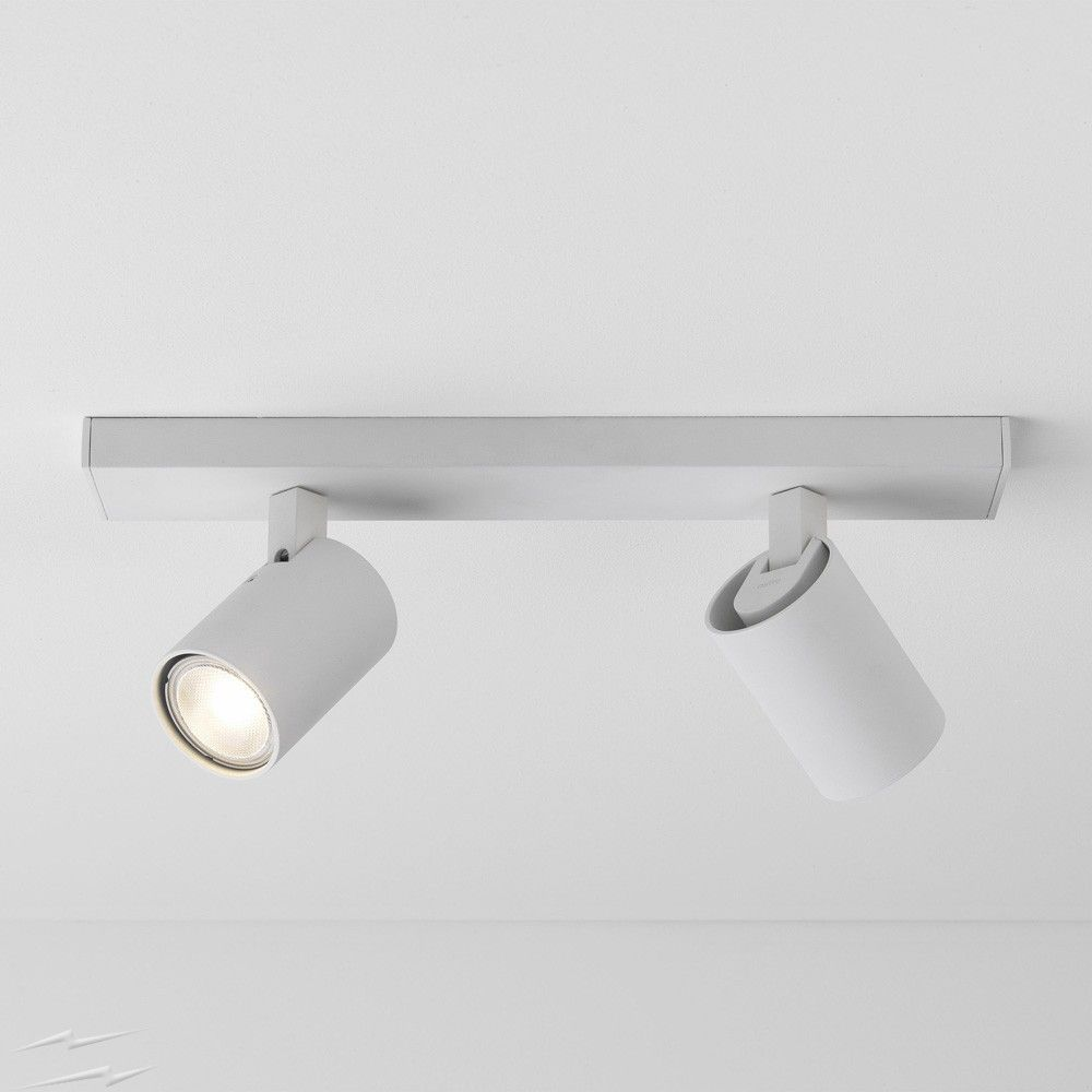 Ascoli Twin Ceiling Spot Bar In Textured White Ip20 Adjustable Spots Using 2 X Gu10 Max 50w Lighting Ceiling Exterior Lighting