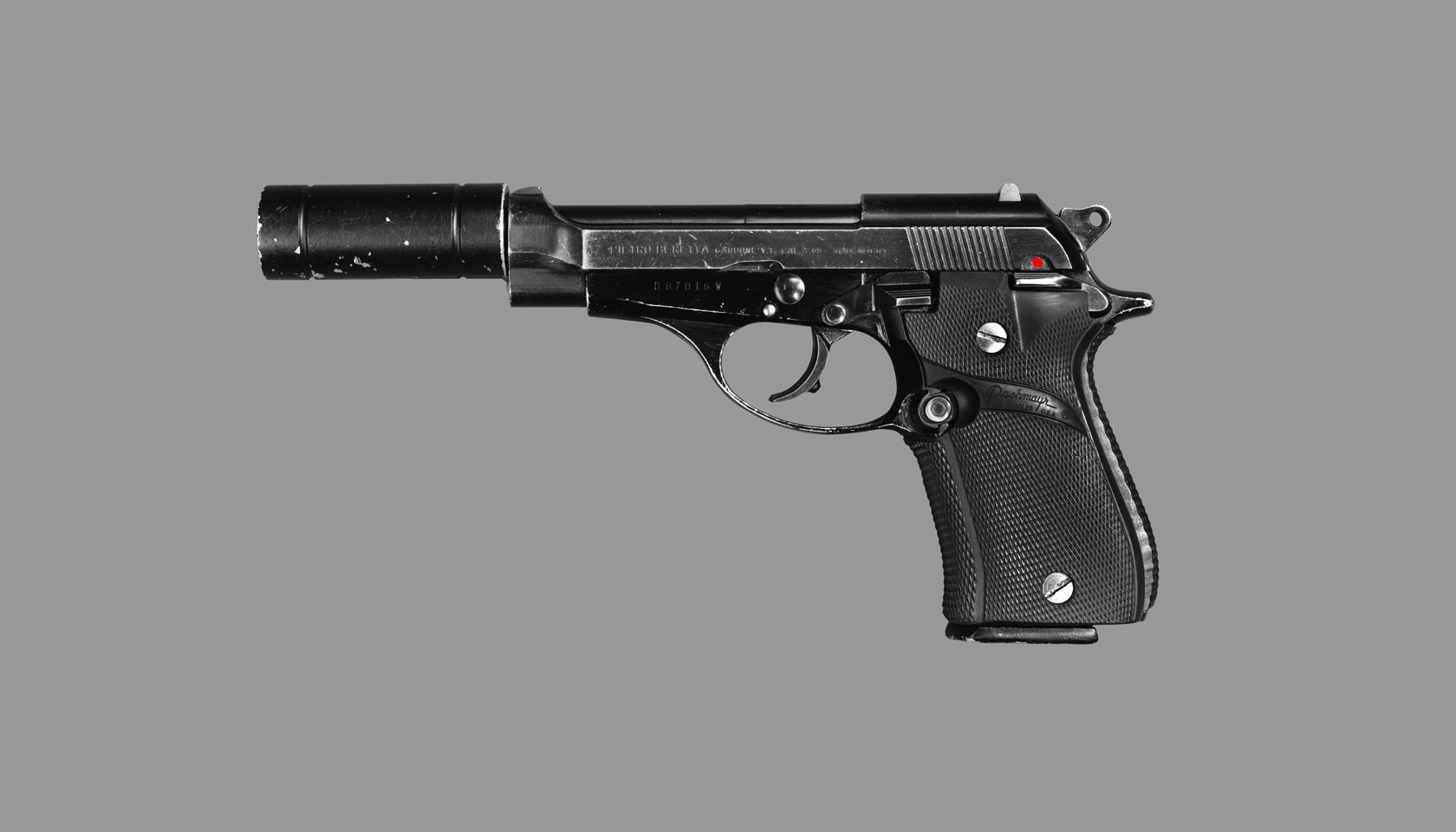 """'White Powder"""" - unique silver gelatin, acrylic polymer, gesso, epoxy resin, automotive finishes, wood, aluminium, composite panel 48 x 84 x 2 inches(121.9 x 213.3 x 5.0 cm ).  copyright  james georgopoulos 2013 Actual Gun used by Al Pacino (Tony Montana) on the Universal Pictures feature film Scarface (1983) - From the Famous Guns of Cinema Series by James Georgopoulos"""