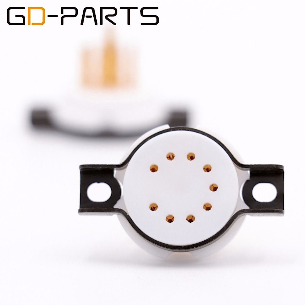GD-PARTS 2PCS CMC Teflon 9 pin Tube Sockets for 6DJ8 12AX7 EL84