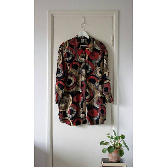 Vintage Long Abstract Viscose Blouse // Black Red Beige Golden