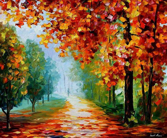 Árboles de arte - evanescencia de la vista, Camada de hojas óleo