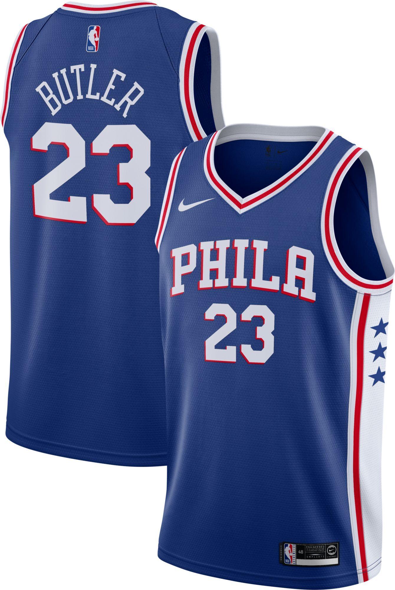 c4b3f5ab80ae Nike Men s Philadelphia 76ers Jimmy Butler  23 Royal Dri-FIT Swingman  Jersey