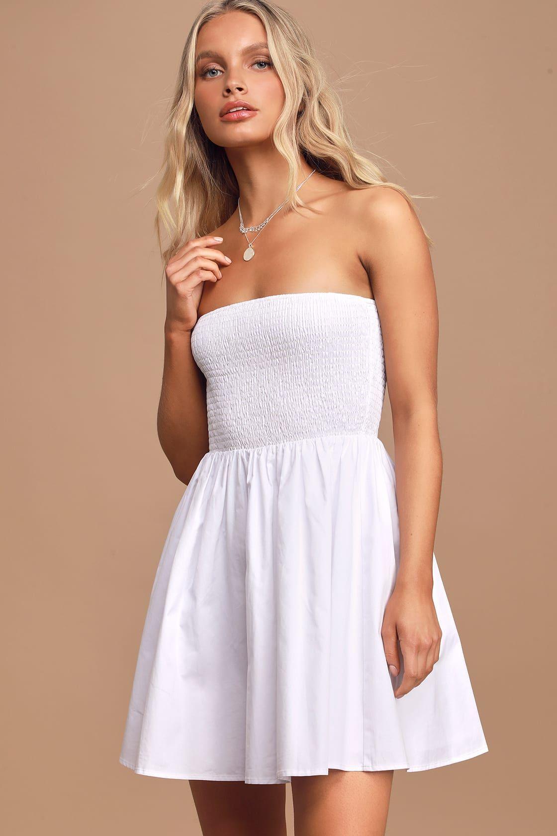 Our Love Story White Strapless Smocked Mini Skater Dress In 2020 Mini Skater Dress Cute Dresses For Teens White Mini Dress [ 1680 x 1120 Pixel ]