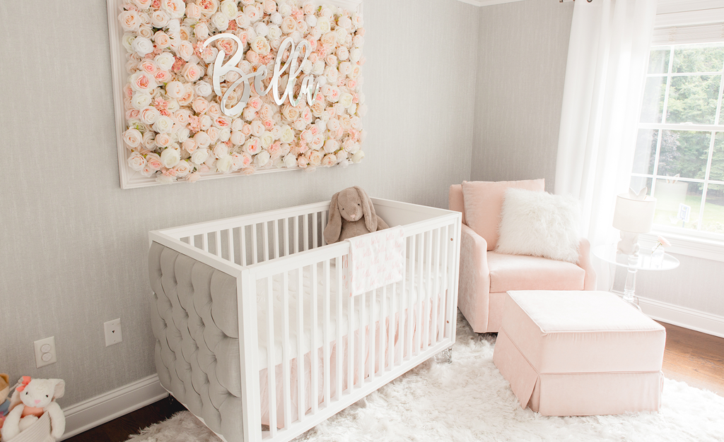 Peach And Grey Rose Themed Nursery With Floral Name Sign Nurseryideas Nurserydecor Nursery Baby Room Baby Girl Nursery Room Baby Room Design