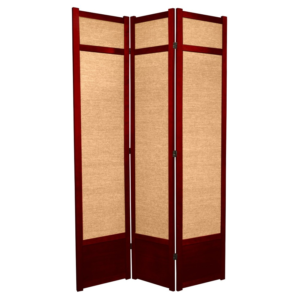 7 ft. Tall Jute Shoji Screen - Rosewood (3 Panels)