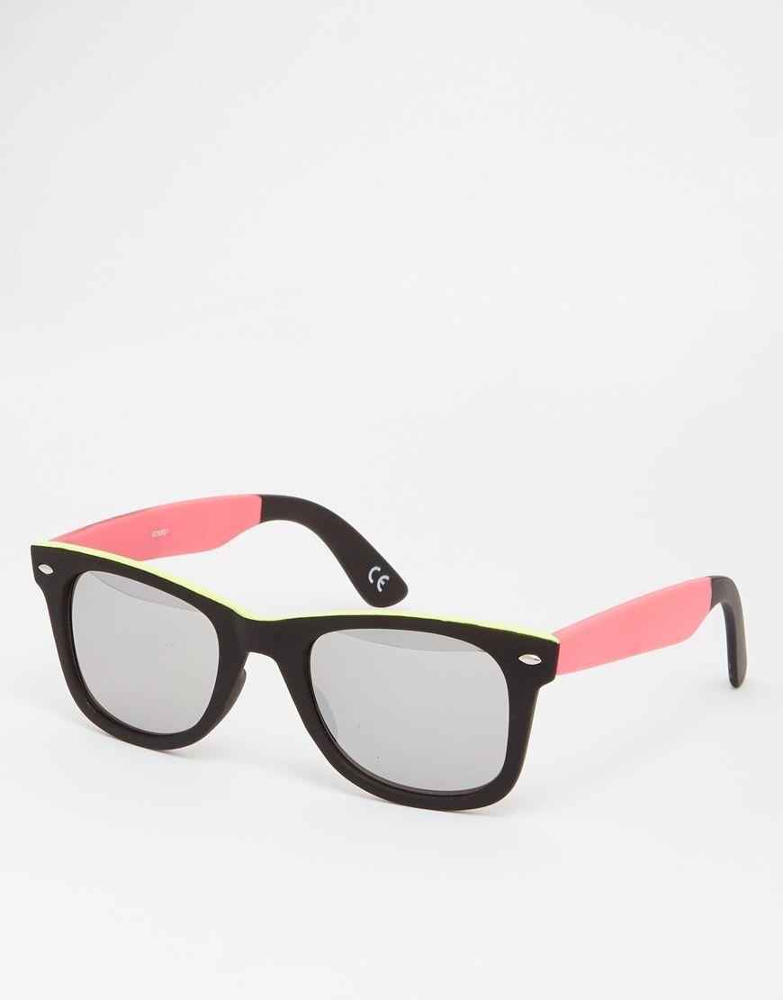 Sonnenbrille von ASOS farbiger Rahmen im Wayfarer-Stil geformte ...