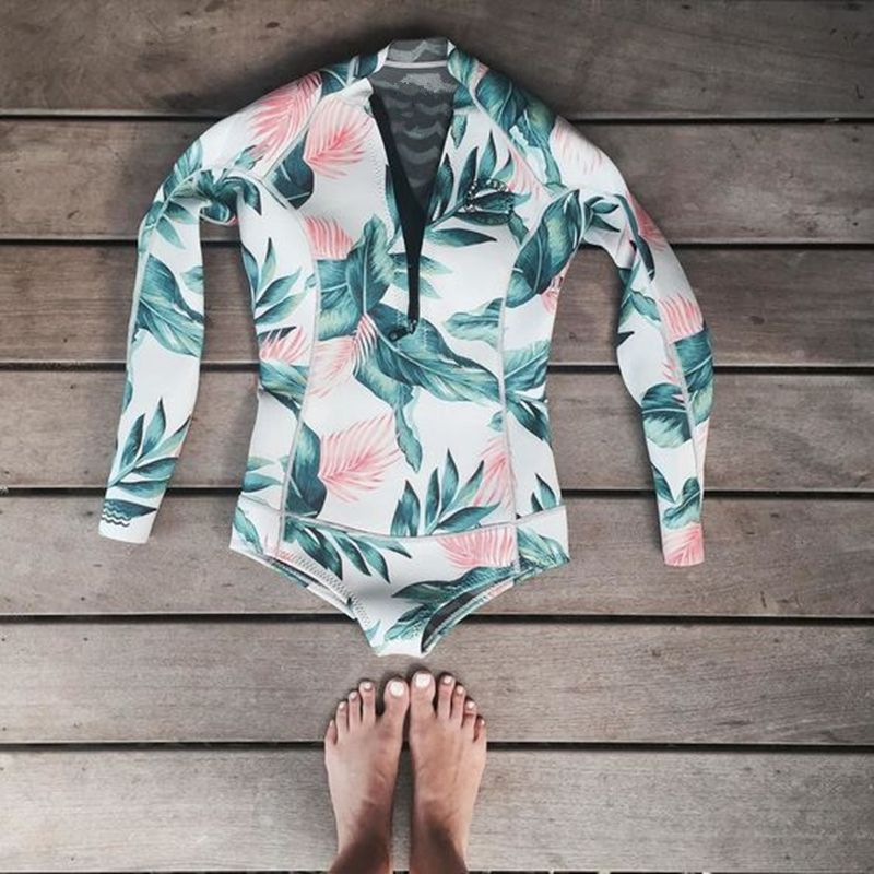 59d826022b6 Surf Long Sleeve Print One Piece Swimsuit Swimwear Bathing Suit Brazilian  Swimming Suit For Women-in One-Piece Suits from Sports   Entertainment on  ...