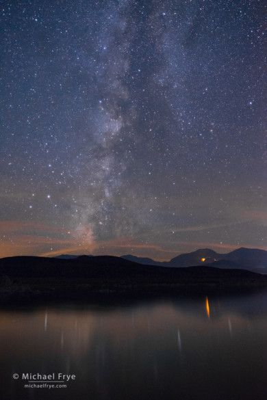 The Milky Way over Mono Lake with the glow from the Walker Fire, Mono Lake, CA, USA 8/19/15