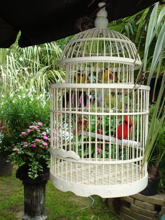 Online veilinghuis Catawiki: Handmade Vogelkooi van Bamboe in White Wash…