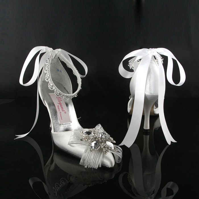 Luxurious Custom Sliver Stiletto Heel Wedding Shoes with Ribbon Tie