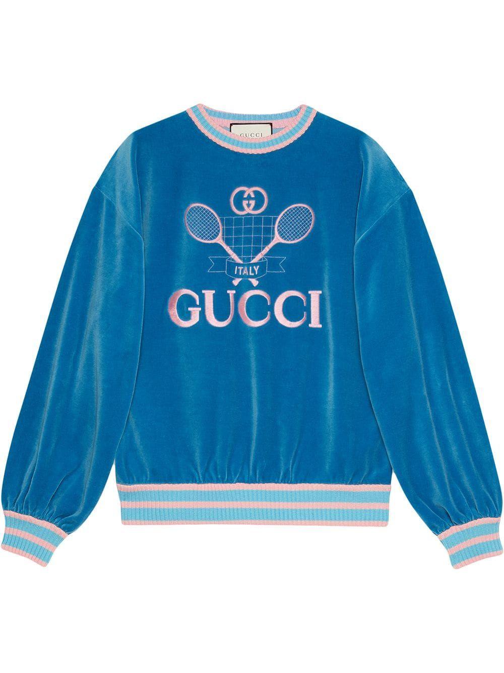 Gucci Sweatshirt With Gucci Tennis Farfetch Gucci Sweatshirt Sweatshirts Gucci Sweater [ 1334 x 1000 Pixel ]