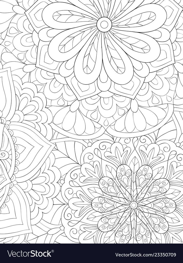An Abstract Background Image For Adults A Coloring Book Page For Relaxing Activity Zen Art Style Illustrati Coloring Books Flower Coloring Pages Coloring Pages