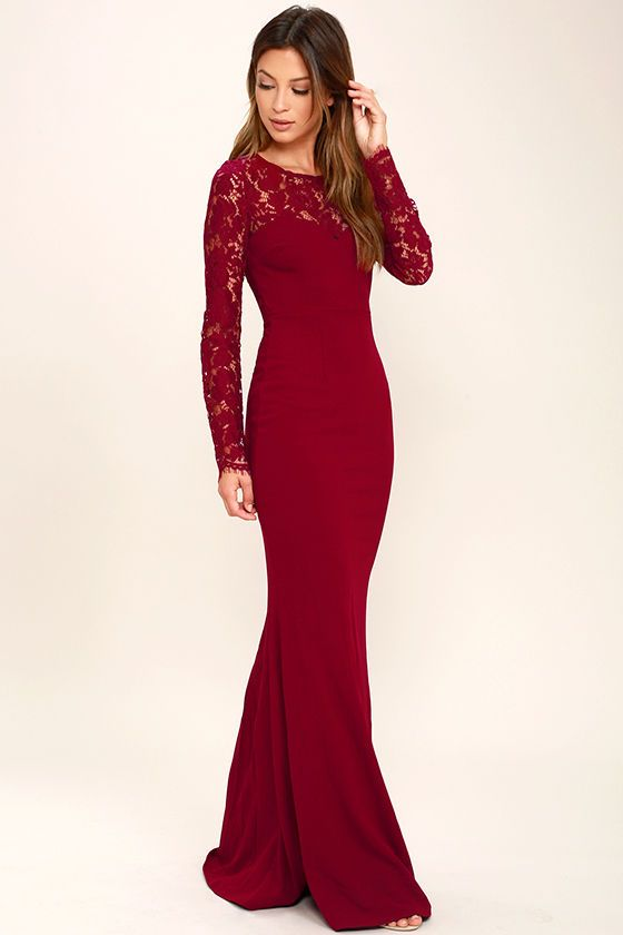364f6ce54513 The Whenever You Call Wine Red Lace Maxi Dress will always be there for you  when you're in a fashion bind! Lovely, sheer eyelash lace tops a darted ...