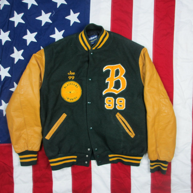 Vintage Blackhawk Swimming Varsity Jacket Medium Large