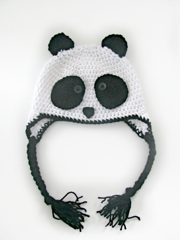 Crochet Panda Hat- Made to Order | hats | Pinterest | Gorros ...