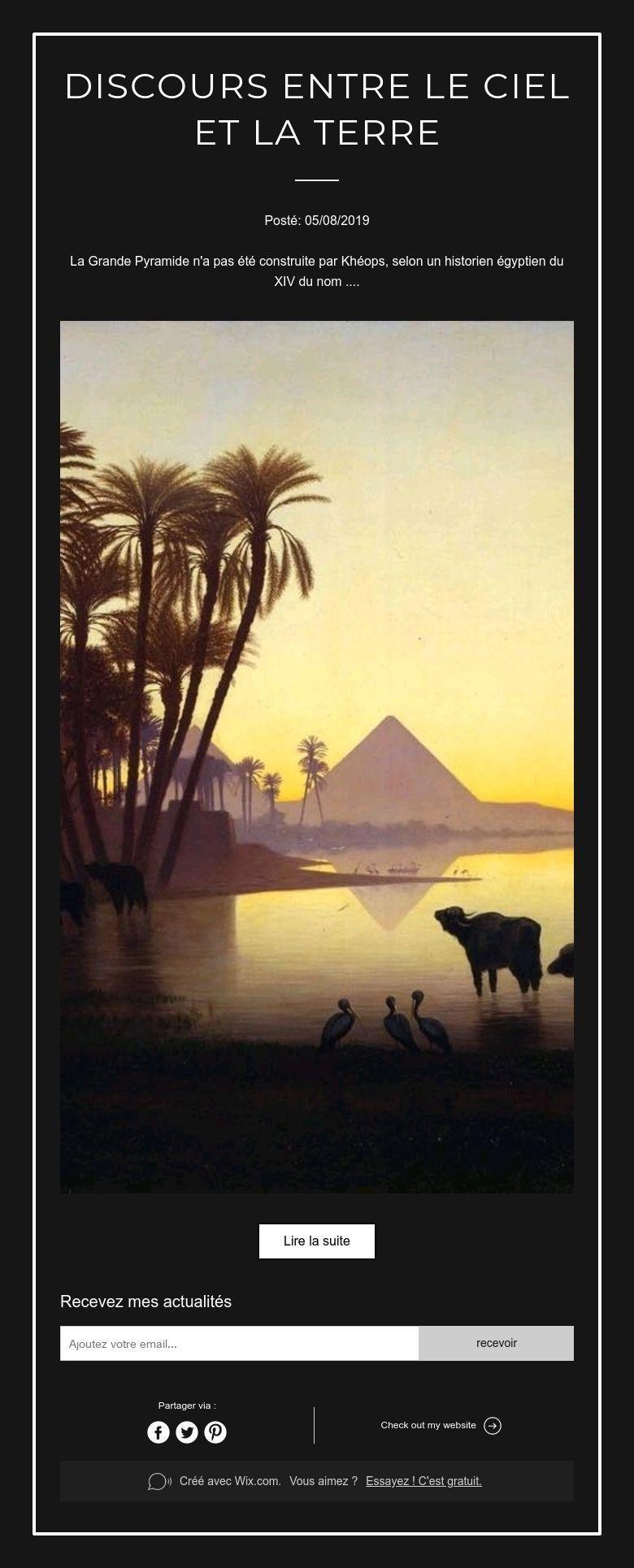 Discours entre le Ciel et la Terre Ciel, Nom egyptien et