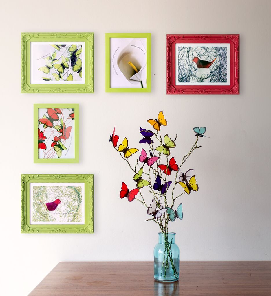 Mariposas en flor - Multicolor. Ramas con mariposas de largos variados hechas a mano con alambre de aluminio en 2 verdes + 20 mariposas multicolores realizadas en papel vegetal francés. #MiTiendaNube