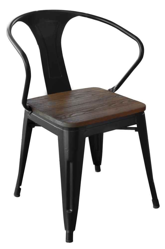 Amazon.com   Loft Black Metal Dining Chair With Wood Seat Set   Set Of