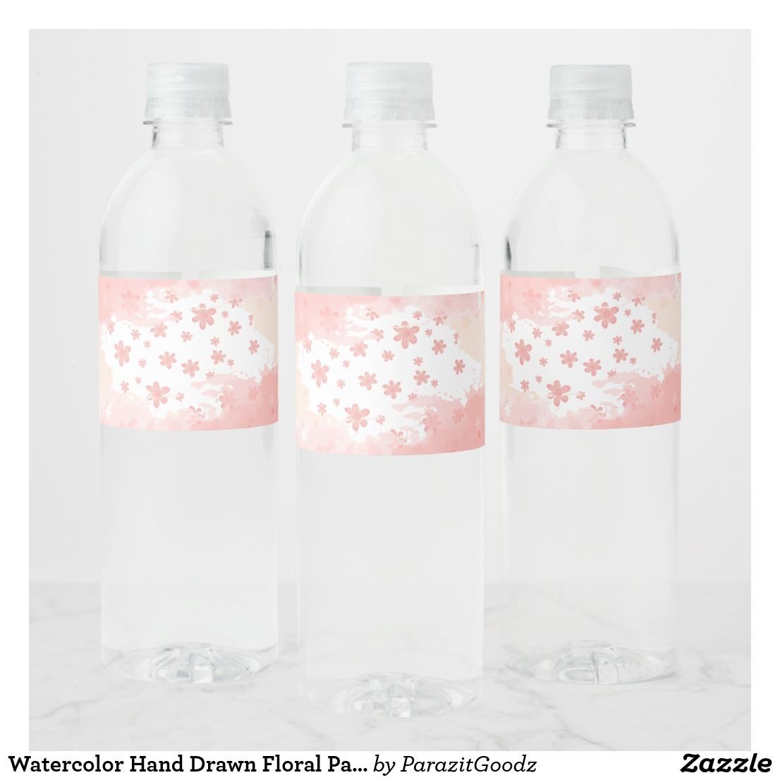 Watercolor Hand Drawn Floral Pattern Water Bottle Label ...