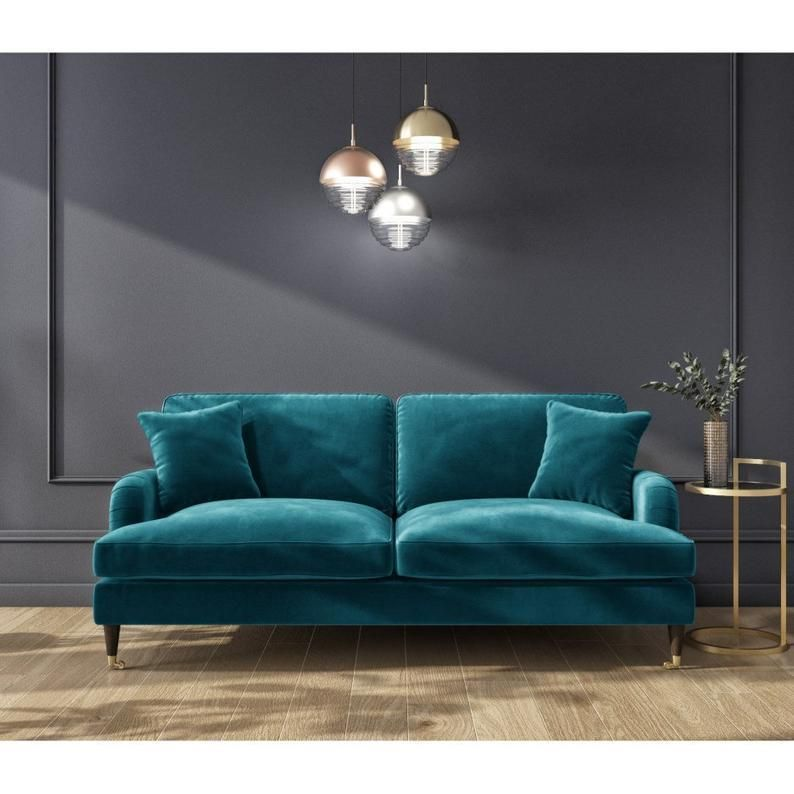 Stunning Plush Teal Blue Green Victorian Style Velvet Fabric 3 Seater Sofa Large Sofa Deep Cushions Teal Sofa Living Room Velvet Sofa Living Room Teal Sofa