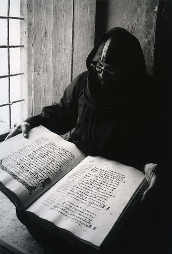 Coptic Monk with Ancient Manuscript, Monastery of St. Paul of Thebes, Red Sea, Egypt