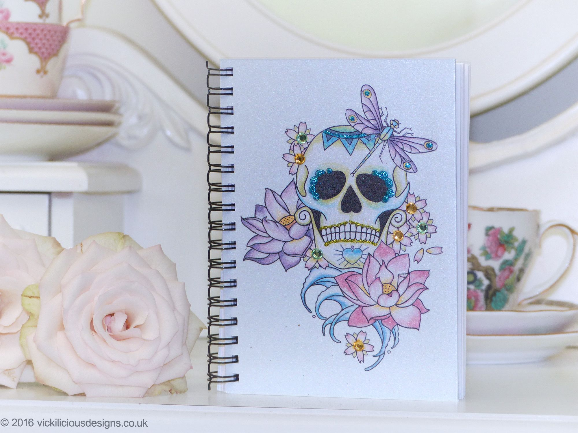 Lotus flower sugar skull tattoo day of the dead handmade a6 notebook lotus flower sugar skull tattoo day of the dead handmade a6 notebook izmirmasajfo