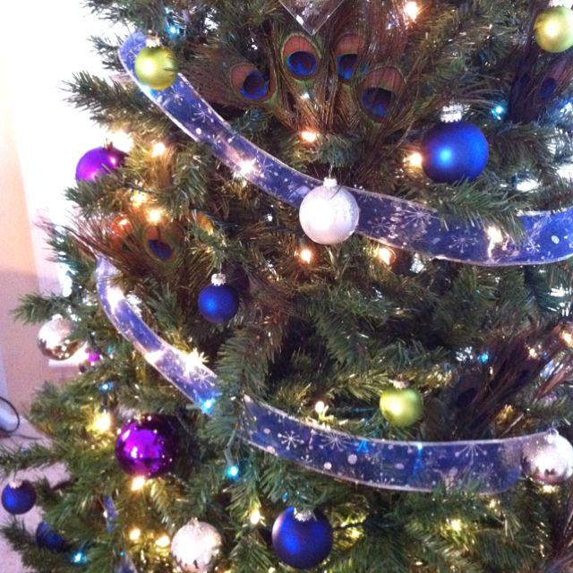 Peacock Christmas tree christmas Pinterest Peacock christmas - blue and silver christmas decorationschristmas tree decorations
