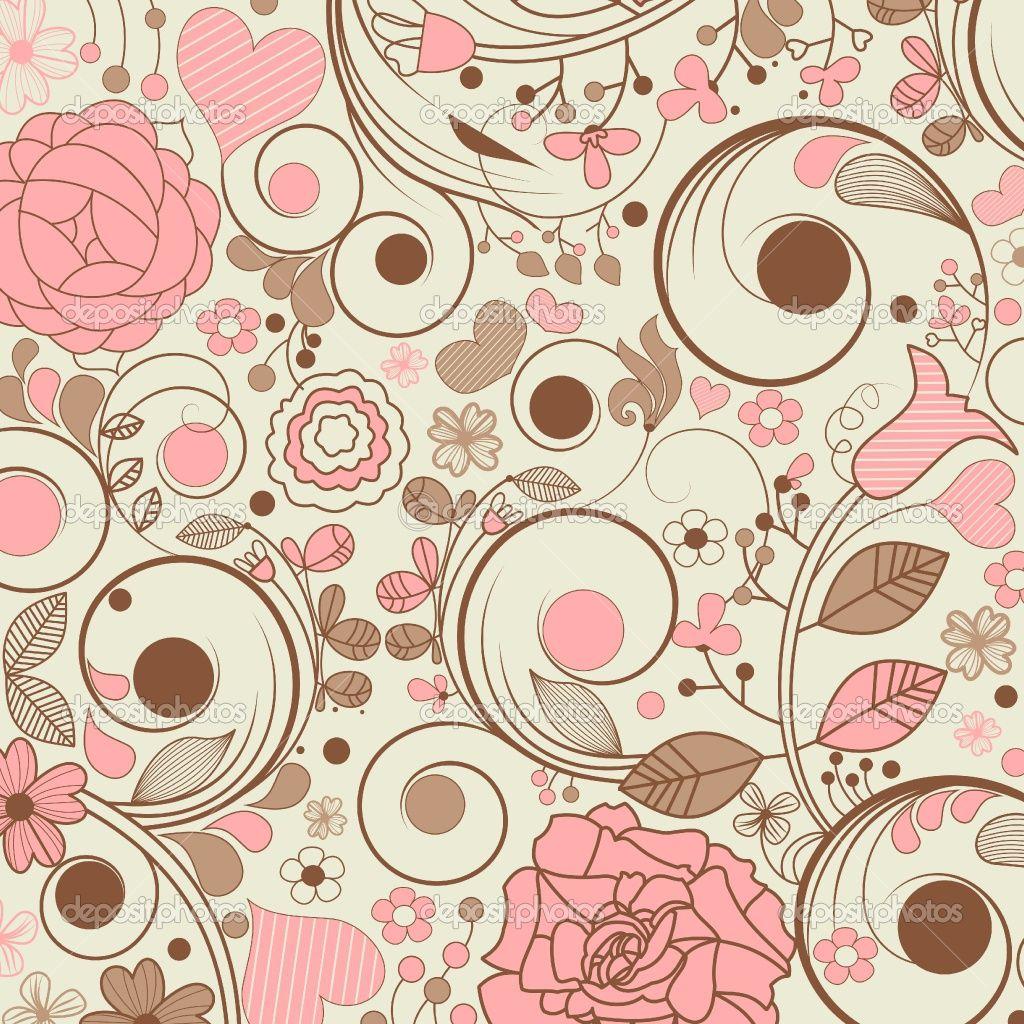 Floral vintage background - Vintage Floral Wallpaper Pink
