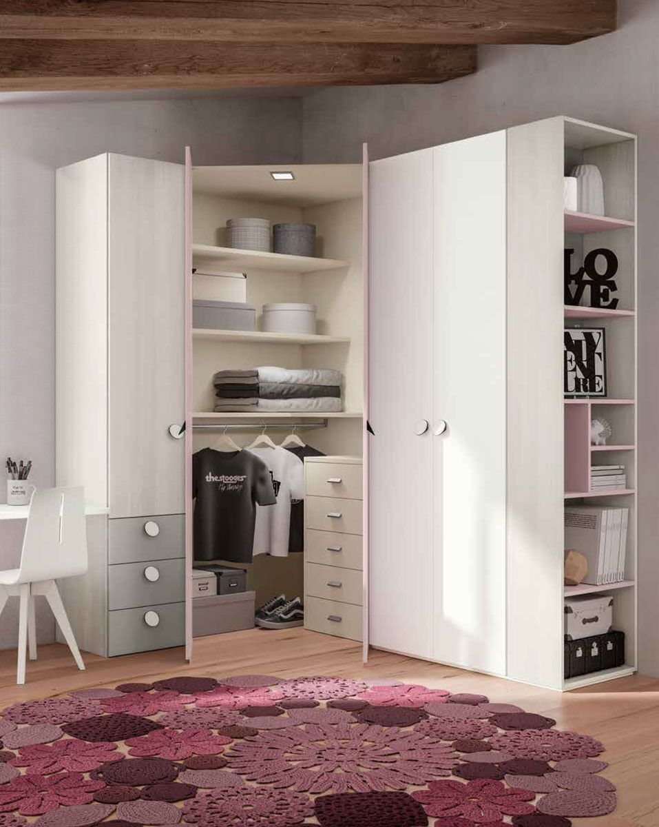 Armadi Ad Angolo Per Camera Da Letto.Armadio A Ponte A 799 00 Euro Https Www Zenzeroshop It Armadio Ad Angolo Rosa Confetto Con Cass Dressing Room Closet Kids Interior Room Bedroom Closet Design