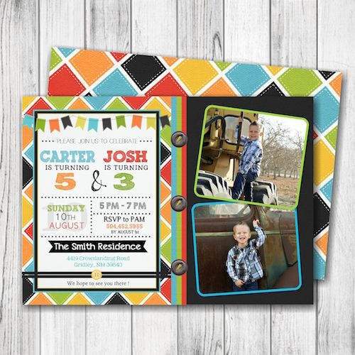 Brothers birthday party invitation boy birthday party invitation brothers birthday party invitation boy birthday party invitation checkered birthday invitation boy stopboris Image collections