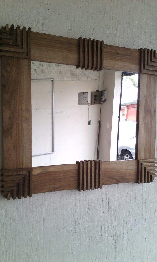 Marco de madera lbum en 2019 wood mirror wood crafts for Espejos para banos con marco de madera