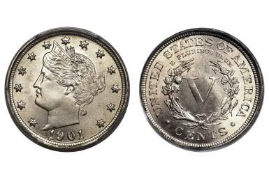 """How Much Is My Liberty Head """"V"""" Nickel Worth?: 1901 Uncirculated Liberty Head or """"V"""" Nickel"""