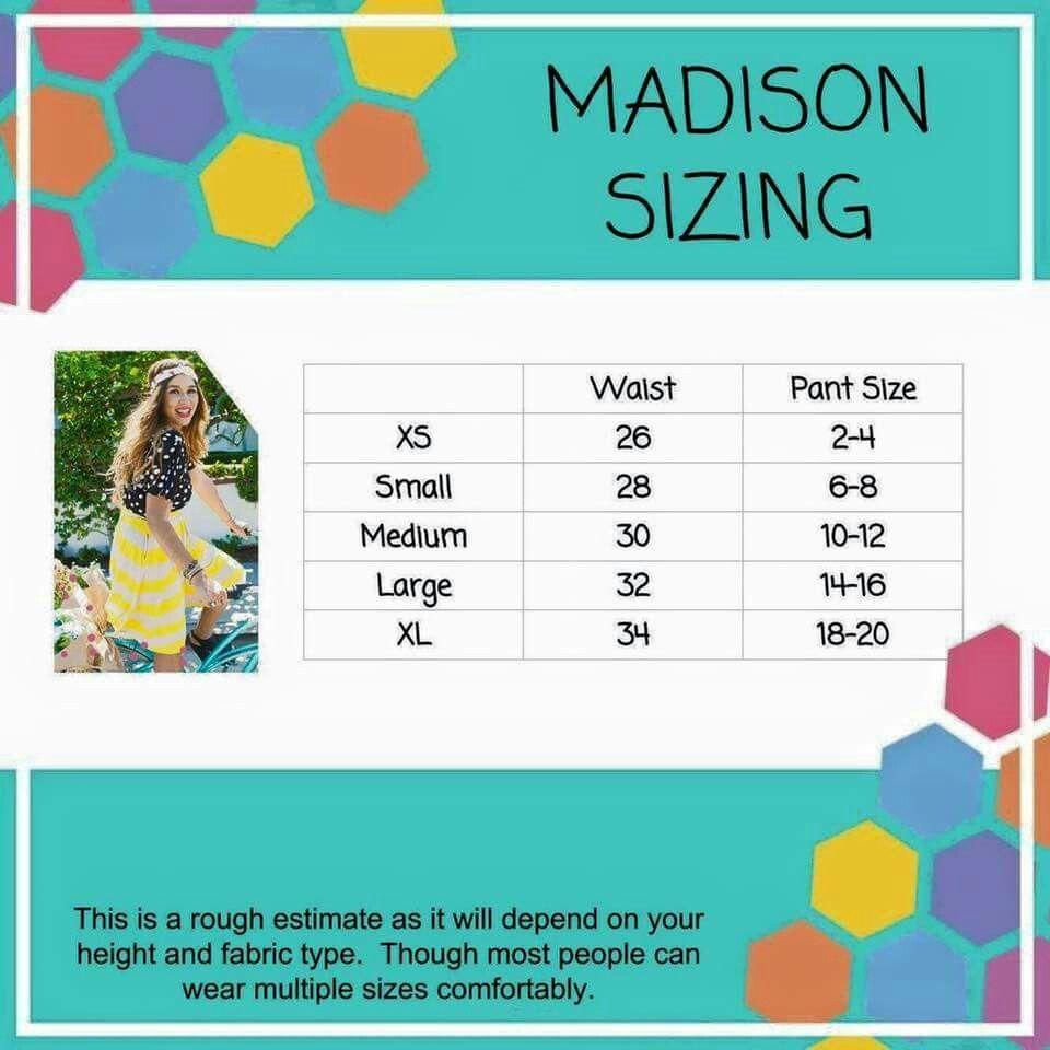 Madison Sizing Lularoe Size Chart Lularoe Madison Sizing Lularoe Styles Guide