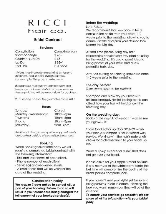 Wedding Hair And Makeup Contract Template Elegant Bridal Hair And Makeup Contract Mugeek Vidal Hair Salon Business Hair Salon Business Plan Salon Business Plan
