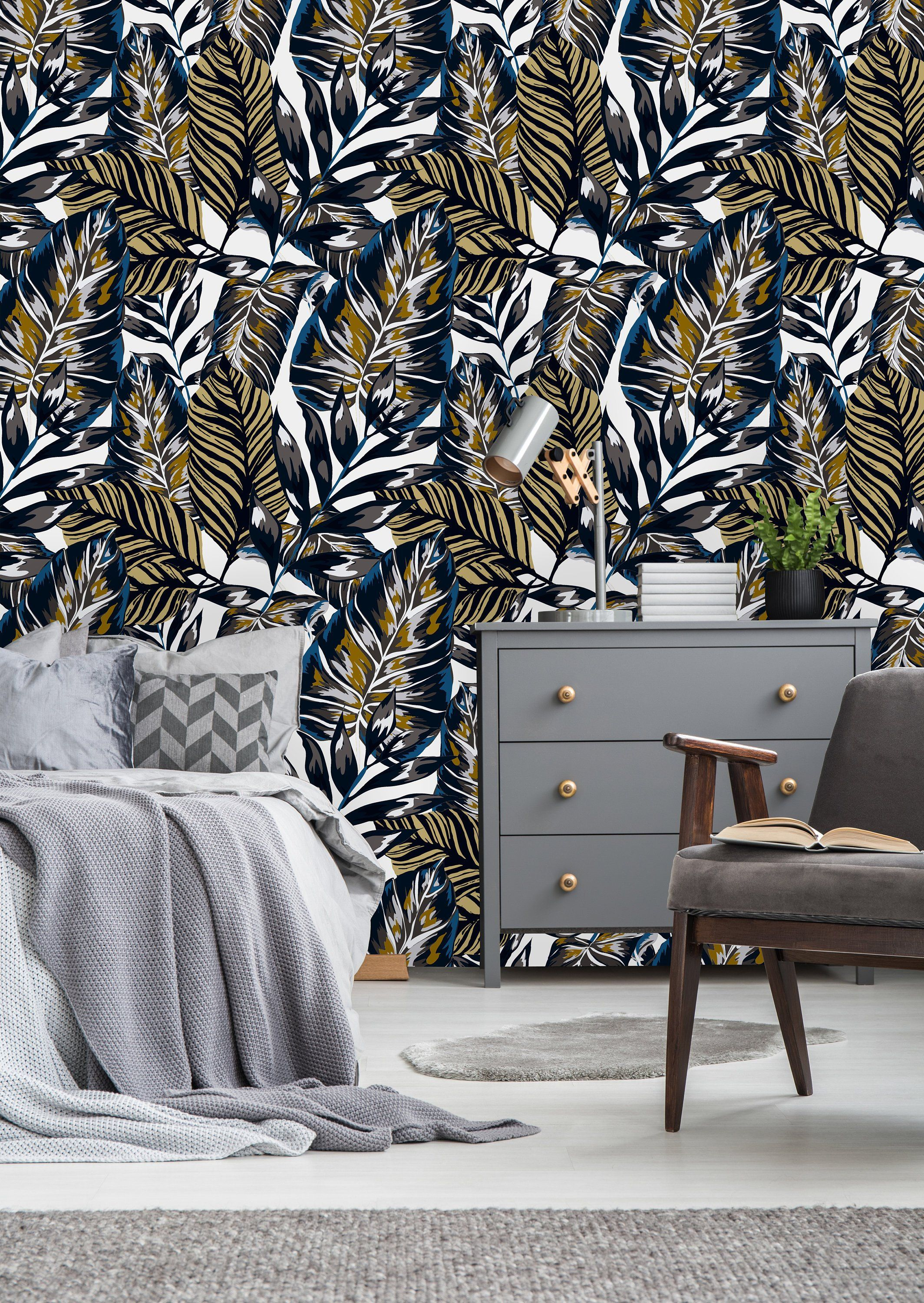 Gold Banana Leaves Removable WallpaperPeel and Stick