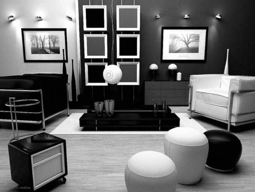 Desain Interior Ruang Tamu Hitam Putih