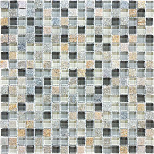"Bliss 5/8"" x 5/8"" - Silver Aspen Mosaic #glass #tile #stone #earth #backsplash #shower #kitchen #bath #bathroom #remodel #renovation #cobblestone #stone #blend"