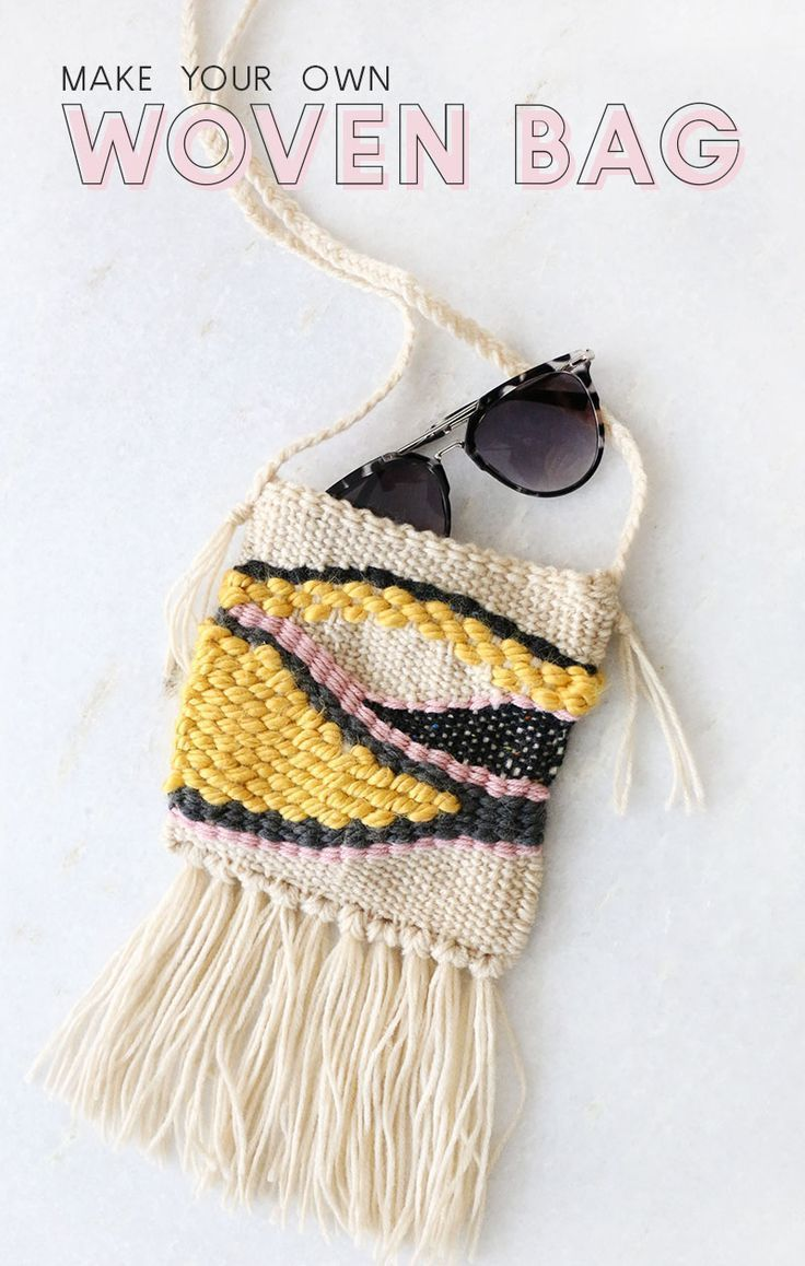 DIY weaving projects don't have to be limited to wall hangings - why not create your own DIY woven bag? Even beginners can tackle this functional project.  #style #diy #outfit #women's #accessories #bag #cap #inspirational