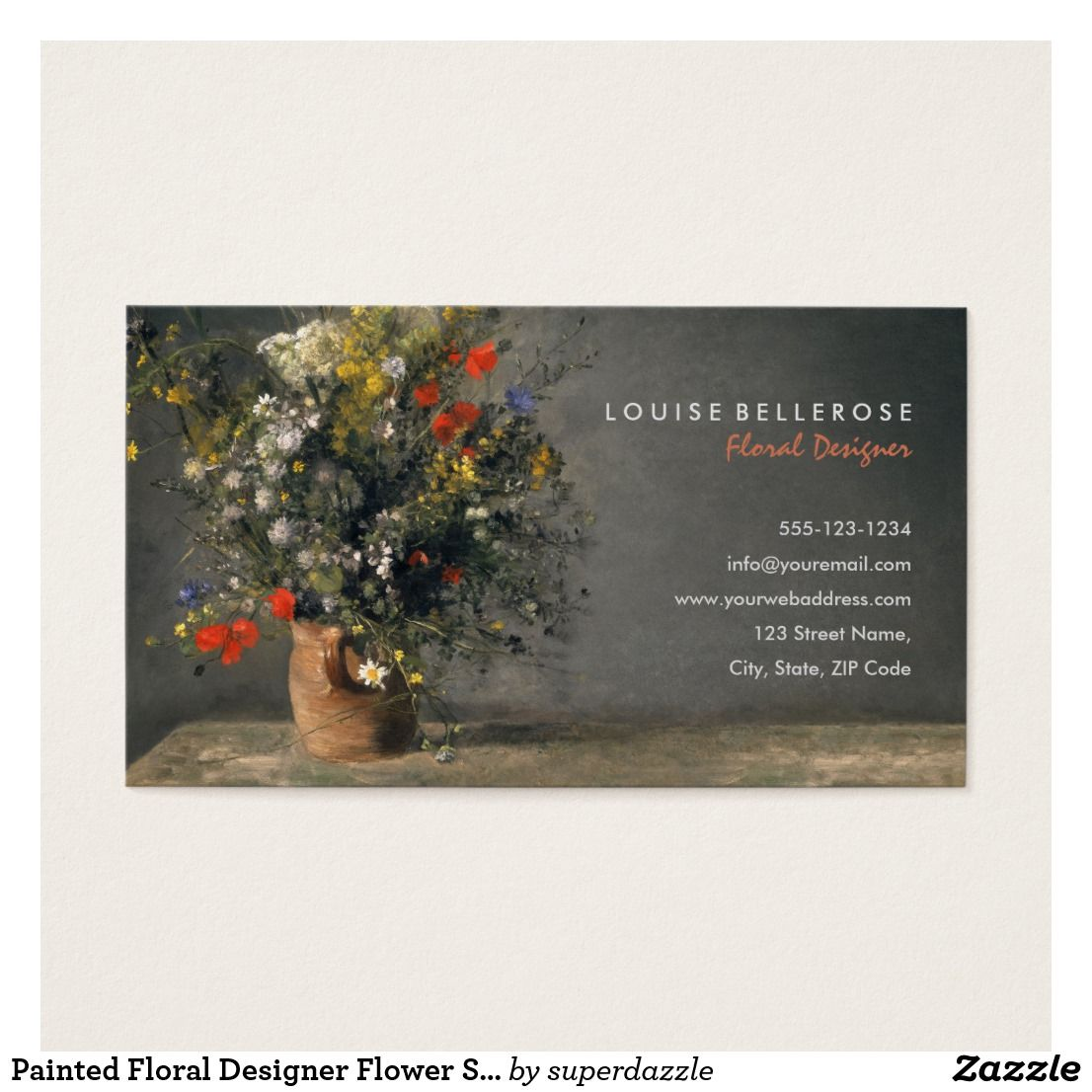 Painted Floral Designer Flower Stylist Business Card Zazzle Com Flower Background Design Wedding Flower Arrangements Floral Business Cards