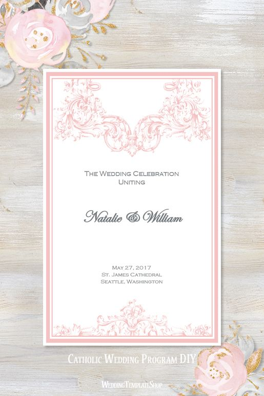 Catholic Church Wedding Program Vienna Blush Pink In 2018