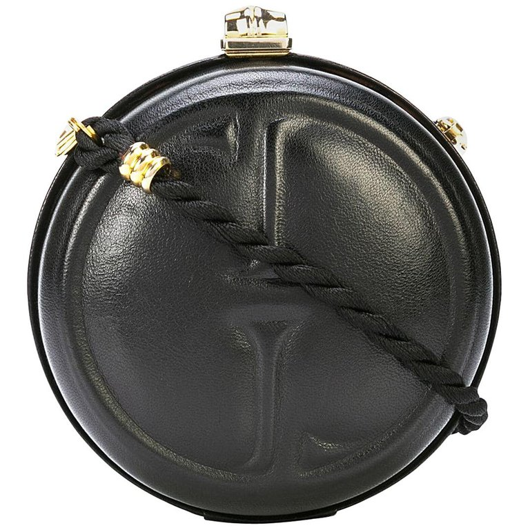 fe555a43a088 Gucci Black Leather Gg Bamboo Kisslock Round 2 In 1 Evening Clutch Shoulder  Bag
